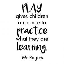 Play gives children a chance to practice what they are learning Mr. Rogers wall quotes vinyl lettering wall decal home decor vinyl stencil kids playroom children