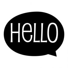 Hello {speech bubble} wall quotes vinyl lettering wall decal home decor vinyl stencil welcome kids room play room children