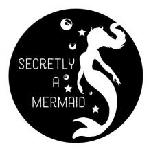Secretly a mermaid {mermaid bubbles stars} wall quotes vinyl lettering wall decal home decor vinyl stencil kids children ocean fantasy pretend