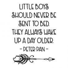 Little boys should never be sent to bed. They always wake up a day older -peter pan - [arrow] wall quotes vinyl lettering wall decal home decor jm barrie kids room childrens room play room reading nook book read