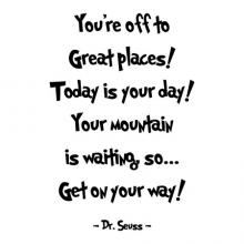 You're off to great places! Today is your day! Your mountain is waiting, so… Get on your way! - Dr Seuss wall quotes vinyl lettering vinyl decals home decor read reading literature library book quotes classroom playroom kids room nursery rhyme inspiration