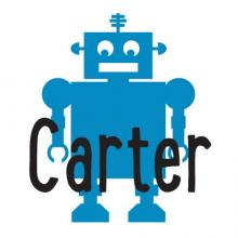 Robot & Custom Name wall quote vinyl lettering wall decal home decor customized personalized robots builder engineer machine mechanical
