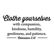 Clothe yourselves with compassion, kindness, humility, gentleness, and patience. Colossians 3:12 wall quotes vinyl lettering wall decal home decor religious faith laundry room closet bedroom