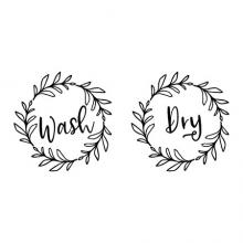 Wash Dry [leaf wreath] wall quotes vinyl lettering wall decal home decor vinyl stencil laundry room washer dryer front loader