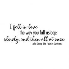 I fell in love the way you fall asleep: slowly, and then all at once. John Green, The Fault in Our Stars wall quotes vinyl decal read reading literature book library