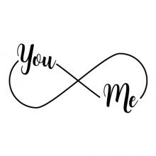 You & Me Infinity Wall Quotes vinyl lettering wall decal forever love marriage wedding anniversary infinity symbol you and me in infinity