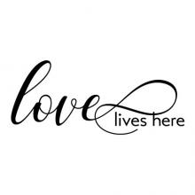 Love lives here wall quotes vinyl lettering wall decal home decor home family photowall true love marriage wedding