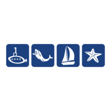 Submarine, whale, sailboat and starfish in rounded squares
