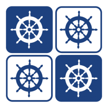 Captain's wheel in four rounded squares