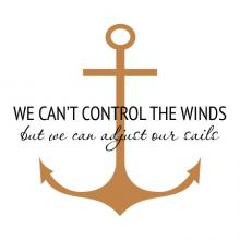 We can't control the winds, but we can adjust our sails. wall quotes vinyl lettering vinyl decals nautical sail sailing boat ocean sea beach anchor cruise lake lakehouse vacation house wind