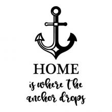 Home is Where the Anchor Drops wall quotes vinyl lettering wall decal home decor sail boat lake house ocean water nautical