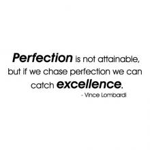 Perfection is not attainable, but if we chase perfection we can catch excellence. -Vince Lombardi