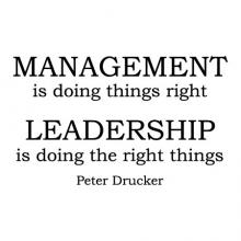 Management is doing things right Leadership is doing the right things Peter Drucker  wall quotes vinyl decal home office professional motivation example