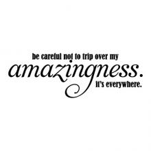 Be careful not to trip over my amazingness. It's everywhere. wall quotes vinyl lettering wall decal office decor home office professional workspace workplace