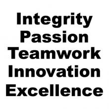 Integrity Passion Teamwork Innovation Excellence wall quotes vinyl lettering wall decal office core values mission statement motivational power words home office workplace workspace