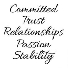 Committed Trust Relationships Passion Stability wall quotes vinyl lettering wall decal office professional workspace workplace hr breakroom motivational word wall