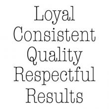 Loyal Consistent Quality Respectful Results wall quotes vinyl lettering wall decal office professional workspace workplace breakroom hr motivational word wall