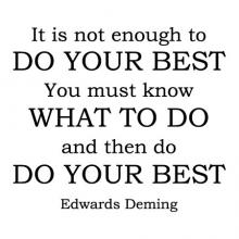 It is not enough to do your best. You must know what to do and then do your best -Edwards Deming wall quotes vinyl lettering wall decal office professional work place work space home office motivational