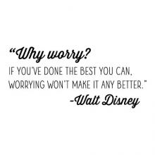 """Why worry? If you've done the best you can, worrying won't make it any better."""" - Walt Disney wall quotes vinyl lettering wall decal home decor office professional inspiration"""