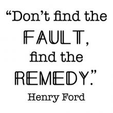 Don't find the fault, find the remedy. -Henry Ford wall quotes vinyl lettering wall decal home decor vinyl stencil office professional home office work desk