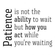 Patience is not the ability to wait but how you act while you're waiting wall quotes vinyl lettering wall decal home decor vinyl stencil office professional work desk