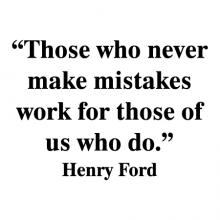 """""""Those who never make mistakes work for those of us who do."""" Henry Ford  wall quotes vinyl lettering wall decal home decor vinyl stencil office professional work desk"""