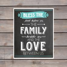 bless the food before us the family beside us and the love between us chalkboard print