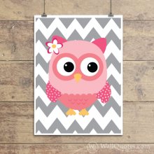 Whimiscal Owl with chevron pattern giclée wall quotes art print