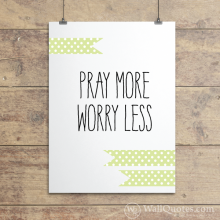 pray More Celedon Polkadot Ribbons Wall Quotes™ Giclée Art Print