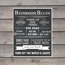 bathroom rules chalkboard themed Wall Quotes™ giclée art print