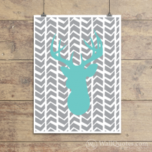 Deer Silhouette Sketchy Chevrons Wall Quotes™ Giclée Art Print Mint Sundae