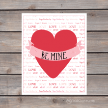 be mine heart and banner print