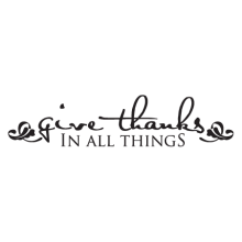 handwritten style give thanks religious wall decal