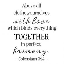 Above all clothe yourselves with love which binds everything together in perfect harmony. Colossians 3:14 wall quotes vinyl lettering wall decals religious quotes faith quotes prayer christian