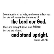 Some trust in chariots, and some in horses: but we will remember the name of the Lord our God. They are brought down and fallen: but we are risen, and stand upright. Psalm 20:7-8 wall quotes vinyl lettering wall decal home decor faith religious bible