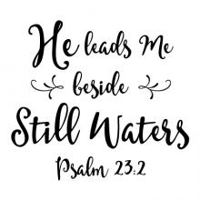 He leads Me beside Still Waters Psalm 23:2 wall quotes vinyl lettering wall decal home decor religious faith bible verse christian