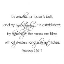 By wisdom a house is built, and by understanding it is established; by knowledge the rooms are filled with all precious and pleasant riches. Proverbs 24:3-4  wall quotes vinyl lettering wall quotes home decor religious bible verse faith christian
