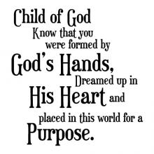 Child of God know that you were formed by God's hands, dreamed up in His heart and placed in this world for a purpose. wall quotes vinyl lettering wall decal home decor religious faith christian church bible