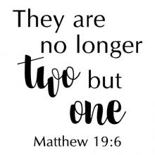 No longer two but one Matthew 19:6 wall quotes vinyl lettering wall decal home decor vinyl stencil religious faith bible christian church love wedding marriage