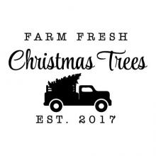 Farm Fresh Christmas Trees est 2017 wall quotes vinyl lettering wall decal home decor christmas xmas holiday seasonal est date custom personalized truck pickup