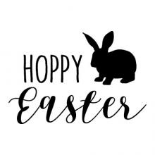 Hoppy Easter with a bunny wall quotes vinyl lettering wall decal home decor seasonal easter spring vintage pun happy easter rabbit