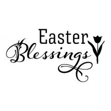 Easter Blessings with a tulip wall quotes vinyl lettering wall decal seasonal spring flower flowers flowery