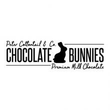 Peter Cottontail &  Co. Chocolate Bunnies Premium Milk Chocolate with chocolate bunny wall quotes vinyl lettering wall decal home decor easter seasonal spring candy vintage sign