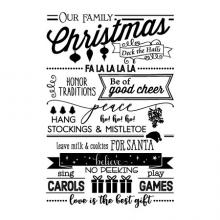 Our Family Christmas Deck the Halls Fa la la la la Honor Traditions Be of good cheery Peace ho! Ho! Ho! Hang stockings & mistletoe leave mild & cookies for santa believe sing carols no peeking play games love is the best gift wall quotes vinyl lettering