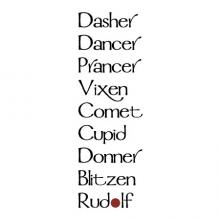 "Dasher dancer prancer vixen comet cupid donner blitzen rudolph {with red circle as ""o""} wall quotes vinyl lettering wall decal home decor vinyl stencil christmas holiday seasonal santa santa's reindeer names"