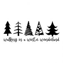 walking in a winter wonderland [tree silhouettes] wall quotes vinyl lettering wall decal home decor vinyl stencil christmas song music xmas holiday seasonal forest trees