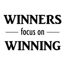 Winners Focus On Winning wall quotes vinyl lettering wall decal sports inspiration sport win winning team baseball basketball soccer gymnastics volleyball football golf