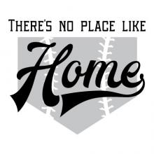 There's no place like home wall quotes vinyl lettering wall decal home decor baseball home plate sports