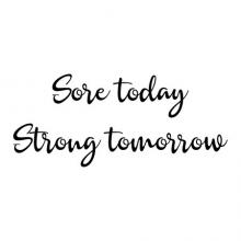 Sore today Strong tomorrow wall quotes vinyl lettering wall decal home decor gym workout weight weightlifting weightlifter strength training