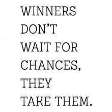 Winners don't wait for chances, they take them wall quotes vinyl lettering wall decal home decor sports team sport win play practice